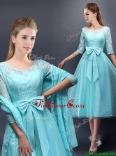 Romantic Aqua Blue Scoop Half Sleeves Dama Dress with Bowknot BMT0107-4FOR