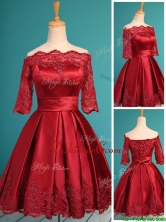 Romantic Off the Shoulder Half Sleeves Dama Dress with Lace and Belt BMT0126FOR