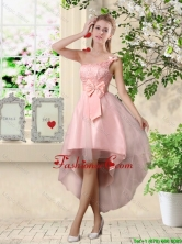 Romantic One Shoulder Laced and Bowknot Dama Dresses in Pink BMT037DFOR