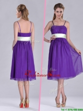 Romantic Spaghetti Straps Belted Eggplant Purple Dama Dress in Tea Length THPD175FOR