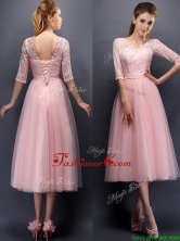 See Through V Neck Half Sleeves Dama  Dress with Lace and Belt BMT097D-1FOR