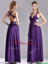 Sexy Purple Criss Cross Dama Dress with Ruched Decorated Bust THPD021FOR