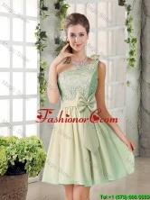 Short A Line One Shoulder Lace 2016 Summer Dama Dresses BMT010B-5FOR
