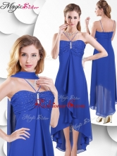 Simple Spaghetti Straps High Low Blue Dama Dress with Beading SWPD010FB-1FOR