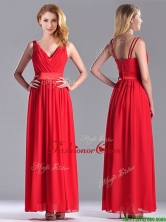 The Super Hot Empire V Neck Red Dama Dress in Ankle Length THPD027FOR