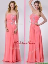 Watermelon Empire Strapless Chiffon Beading Long Dama Dress for Graduation THPD300FOR