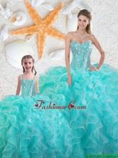 2016 Spring Beautiful Aqua Blue Quinceanera Princesita Dresses with Beading and Ruffles QDDTA75002-LGFOR
