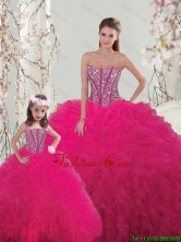 2016 Spring Classical Ball Gown Beaded and Ruffles Matching Sister Dresses in Hot Pink QDDTA005-LGFOR