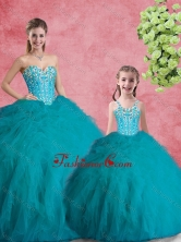 2016 Sweet Ball Gowns Teal Macthing Sister Dresses with Beading and Ruffles  SJQDDT98002-LGFOR