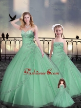Beaded and Applique Apple Green Macthing Sister Dresses in Tulle XFQD963-13-LGFOR