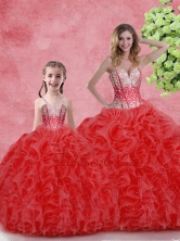 Cheap Ball Gown Sweetheart Macthing Sister Dresses with in Red  SJQDDT103002-LGFOR