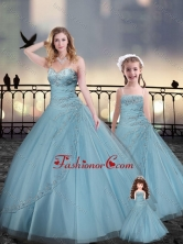 Custom Fit Light Blue Macthing Sister Dresses with Beading and Appliques XFQD963-9-LGFOR