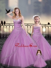 Custom Made Beaded and Applique Macthing Sister Dresses in Lilac XFQD963-10-LGFOR