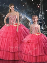 Fashionable Ball Gown Coral Red Macthing Sister Dresses with Beading for Fall  QDDTA105002-LGFOR