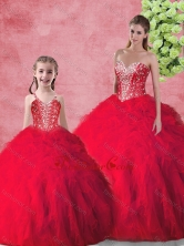 Hot Sale Beading 2016 Macthing Sister Dresses with in Red SJQDDT104002-LG-1FOR