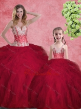 Hot Sale Wine Red Macthing Sister Dresses with Beading and Ruffles SJQDDT101002-LGFOR