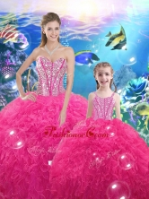 Lovely Ball Gown Macthing Sister Dresses with Beading and Ruffles for 2016 QDDTA76002-LGFOR