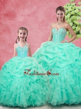 Spring Classical Ball Gown Pick Ups Macthing Sister Dresses in Apple Green SJQDDT99002-LGFOR