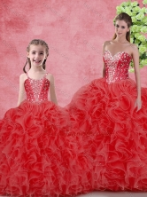 Wonderfu Floor Length  Macthing Sister Dresses with Beading and Ruffles for Winter  SJQDDT106002-LG-1FOR