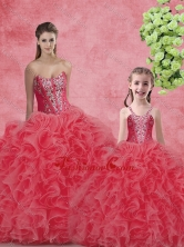 Wonderful Ball Gown Sweetheart Beading Macthing Sister Dresses in Coral Red  SJQDDT97002-LG-1FOR