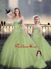 Yellow Green Macthing Sister Dresses in Tulle with Beading and Appliques XFQD963-11-LGFOR