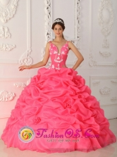2013 Bolivar Colombia Customer Made Quinceanera Dress With Appliques Decorate Straps Watermelon Style  QDZY309FOR