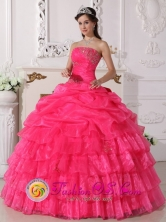 2013 Corinto Colombia Gorgeous Ruffles Layered Hot Pink Beaded Decrate Bust and Ruch Sweet Quinceanera Gowns With Floor-length Style QDZY647FOR