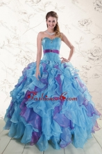 2015 New Style Multi Color Quinceanera Dresses with Beading and Ruffles XFNAO783FOR