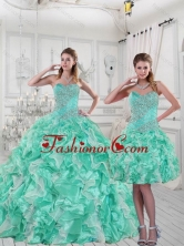 2015 Pretty Sweetheart Quinceanera Dresses in Apple Green with Ruffles and Beading ZY791TZFOR