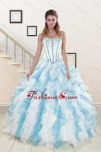 Appliques and Ruffles 2015 Quinceanera Dresses in Multi Color XFNAO056FOR