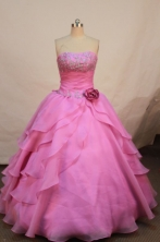 Beautiful ball fown strapless floor-length organza hot pink appliques quinceanera dresses FA-X-040