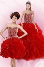 Best 2015 New Style Red Quince Dresses with Beading and Ruffles XFNAO5781TZFOR