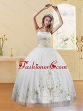 Best 2015 New Style Strapless Embroidery White and Gold Dresses for Quinceanera XFNAO5789TZFXFOR