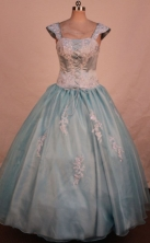 Best Ball Gown Strap Floor-length Light Blue Appliques Quinceanera dress Style FA-L-347