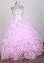 Best Ball Gown Strapless Floor  -length Pink Quinceanera Dress X0426076