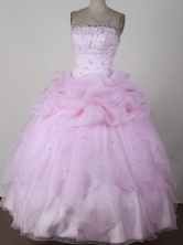 Best Ball Gown Strapless Floor-  length Pink Quincenera Dresses TD260043