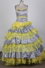 Best Ball Gown Strapless Floor  -length Yellow Quinceanera Dress X0426081