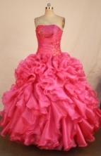 Best Ball Gown Strapless Floor-length Hot Pink Organza Appliques Quinceanera dress Style FA-L-363