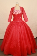 Best Ball Gown Strapless Floor-length Red Satin Appliques Quinceanera dress Style FA-L-355
