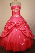 Best Ball Gown Strapless Floor-length Red Taffeta Appliques Quinceanera dress Style FA-L-368