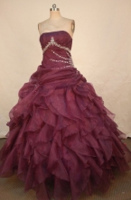 Best Ball Gown Sweetheart Floor-length Dark Purple Organza Appliques Quinceanera dress Style FA-L-37