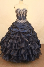 Best Ball Gown Sweetheart Floor-length Navy Blue Taffeta Embroidery Quinceanera dress Style FA-L-370