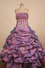 Best Ball Gown Sweetheart Floor-length Purple Taffeta Appliques Quinceanera dress Style FA-L-387