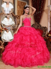 Best  Beading Sweetheart Quinceanera Dresses in Coral Red  QDZY032CFOR