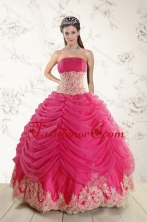 Best Fashionable 2015 Strapless Hot Pink Quinceanera Dresses with Beading and Lace XFNAO501TZFXFOR