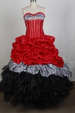 Best Gown Sweetheart Floor-length   Red And Black Quincenera Dresses TD260047