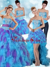 Best Multi Color Strapless Quinceanera Dress with Ruffles and Sash PDZY471TZA2FOR