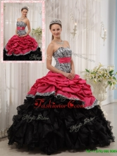 Best Ruffles Sweetheart Quinceanera Gowns in Red and Black QDZY434-2BFOR