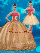 Best Strapless Multi Color Quinceanera Dress with Beading and Embroidery QDZY429TZFOR