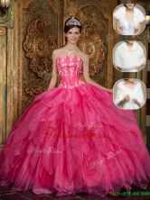 Best Strapless Quinceanera Dresses with Appliques and Ruffles  QDZY003FFOR